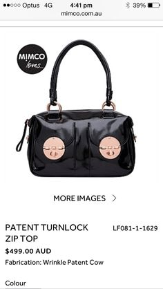Mimco black and rose gold Turnlock bag