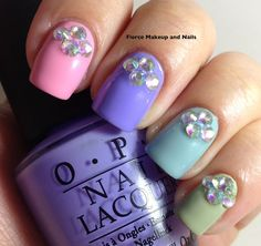 Fierce Makeup and Nails: Pastel skittle and some bling....