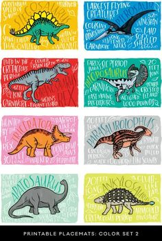 Fun Fact Placemats: Dinosaurs Cute for under food and treats! Dinosaur Food, Dinosaur Activities, Dinosaur Crafts, Dinosaur Art, The Good Dinosaur, Party Activities, Dinosaur Types, Dinosaur Projects, Dinosaur Printables