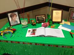 Retirement party! Gift table. We added pictures of first year and last year. And plaques and rewards!