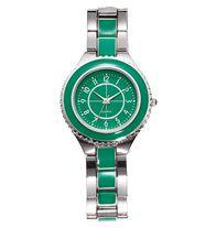 """Chic Enamel Bracelet Watch in Green - Silvertone bracelet style watch with enamel-look accents. Bracelet, 7"""" L. Regularly $29.99, buy Avon jewelry online at http://eseagren.avonrepresentative.com"""