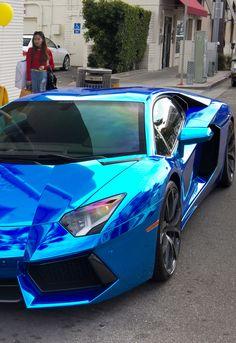 Chrome Blue Lamborghini Aventador