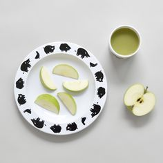 "Buddy and Bear White ""Farm Animal"" Plastic Plate with Black Print"