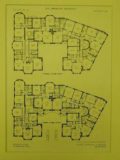 Floor Plans, Bromley Court, Cambridge, MA, 1909, Original Plan. Newhall & Blevins.: