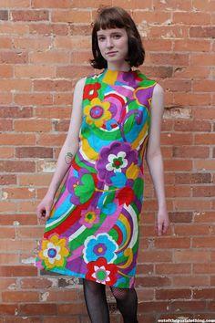 Go-Go Dancer Vintage 1960s Psychedelic Mini Dress