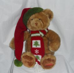 """Dillards Christmas Bear 18"""" Plush Holiday 2003 Brown Teddy with Scarf and Hat #Dillards"""