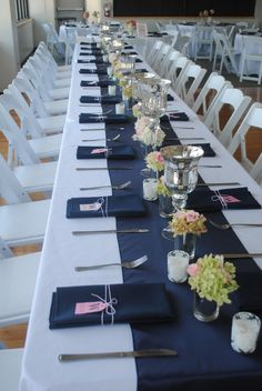Jackie Fo: Amanda and Collin's Preppy Navy and Pink Wedding! Jackie Fo: Amanda and Collins Preppy Navy and Pink Wedding! Blue Wedding Receptions, Blue Wedding Decorations, Navy Wedding Centerpieces, Nautical Centerpiece, Navy Blue Wedding Theme, Wedding Colors, Preppy Wedding Theme, Yosemite Wedding, Pink Table
