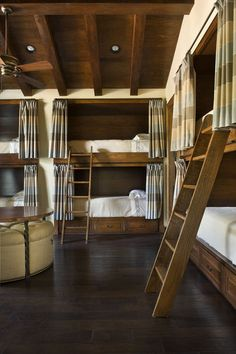 Fantastic sleeping arrangement for a vacation house. The kids get to sleep together...but separated. Brilliant.
