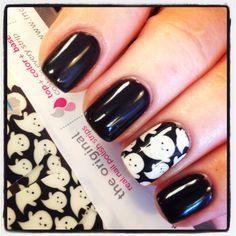 Halloween Nails :)  OPI gel Black Onyx & INCoCo nail appliqué