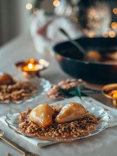 KINUSKISSA HAUDUTETUT PÄÄRYNÄT & KAURACRUMBLE (G) | Annin Uunissa Most Delicious Recipe, Smoothie, Panna Cotta, Pudding, Yummy Food, Ethnic Recipes, Desserts, Tailgate Desserts, Dulce De Leche
