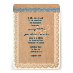 Rustic Style Burlap Texture and Lace Wedding V05 Card www.zazzle.com/... #rustic #wedding #fall #autumn #barn #lace #burlap