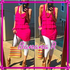 flapper Banana R bright bold and fun summer necessity!. Throw on and your ready to run looking fabulous!. Good condition, just wrinkled from packing hardly touched. Gorgeous and no better color!. Banana Republic Tops Tank Tops