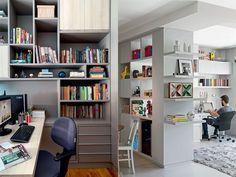 Decoração de home office com estantes de livros! www.stragonapolina.com