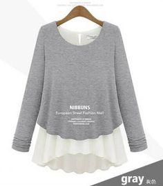 2015 envío gratis otoño Faux de dos piezas camisa de gasa engrosamiento Patchwork camisa básica de manga larga suéter LBR7131A en Blusas y Camisas de Moda y Complementos Mujer en AliExpress.com | Alibaba Group