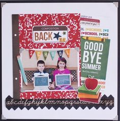 A Simple Stories Smarty Pants Back To School layout by Rebecca Keppel. School Scrapbook Layouts, Scrapbook Sketches, Scrapbook Albums, Scrapbooking Layouts, Scrapbook Cards, Scrapbook Photos, Scrapbook Designs, Cool Paper Crafts, Scrapbook Paper Crafts