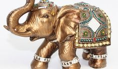 JuJu Smiling Feng Shui 7 Medium Gold Color Elegant Elephant Trunk Statue Lucky Figurine House Warming Gift & Home Decor Elephant Home Decor, Elephant Trunk, Feng Shui Gold, Thing 1, Elephant Figurines, Gift Bows, Blue China, Collectible Figurines, Romantic Gifts