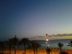 08-2013 Mallorca beach at night, taken from our balkony