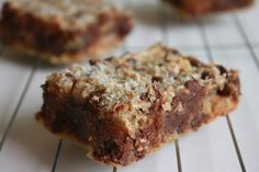 Paleo Almond Butter Blondies.   Almond flour, paleo chocolate chips, coconut oil, almond butter, eggs, vanilla, baking soda & salt. So many good recipes from her site.