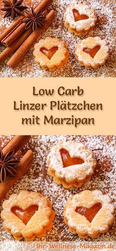 Low-Carb-Weihnachtsgebäck-Rezept für Linzer Plätzchen mit Marzipan: Kohlenhydratarme, kalorienreduzierte Weihnachtskekse - ohne Getreidemehl und Zucker gebacken ... #lowcarb #backen #weihnachten