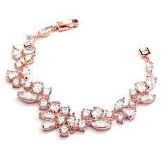 Sparkling Mosaic CZ Wedding Bracelet in 14K Rose Gold  - Petite Size - Affordable Elegance Bridal -