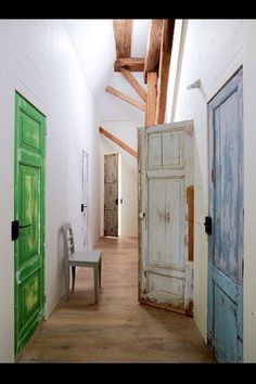 Weathered doors in different colors
