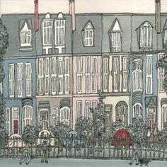 This terrace, near the University of Newcastle upon Tyne, is where my husband used to work when I first met him. His boss was called Eric so I called it Eric's house. I like naming buildings after the people I know who lived in them - it makes them more memorable.  Signed limited edition print