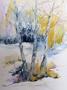 Baume im Winter Aquarell, Winterlandschaft in Aquarell. Baum Schnee
