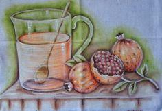 Romãs - Pintura em Tecido