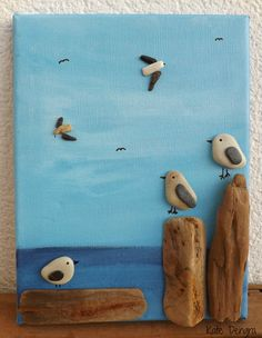 RESTING GULLS Seagull Birds Pebble Driftwood Sea Glass Stone Pottery Art Painting Picture Made With Beach Finds
