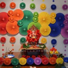 Ideas To Get Your Kids Involved This Ganesh Chaturthi is part of Diwali decorations - Ganesh Chaturthi is one of the most celebrated festivals in Maharashtra Involving the young ones in the festival will make them understand it better Ganpati Decoration Design, Mandir Decoration, Ganapati Decoration, Eco Friendly Ganpati Decoration, Kalash Decoration, Diy Decoration, Diwali Decorations At Home, Paper Decorations, Flower Decorations