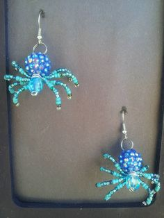 Blue Spider Earrings Creepy Jewelry by AmaranthineMoonlight