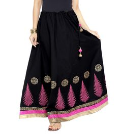 Black Cotton Block Printed Skirt