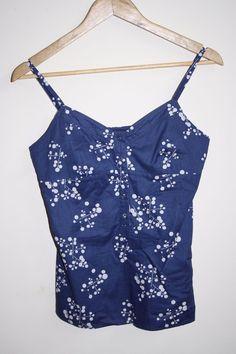 Esprit Womans Girl Fashion Designer Navy Blue Shirt Floral Top Sleeveless Size 8