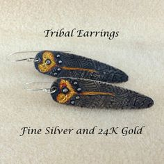Tribal Silver and Gold Earrings by LindaMackSilver on Etsy, $130.00