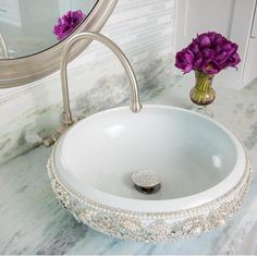 Alright ladies, let's hear it for this blinged out sink!! Photo via @dallasdesigngroup... - Interior Design Ideas, Interior Decor and Designs, Home Design Inspiration, Room Design Ideas, Interior Decorating, Furniture And Accessories