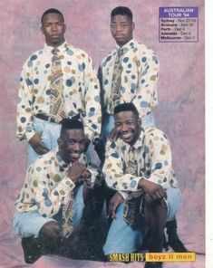 Polka dots shirts, ties, and jorts. What do the boy bands today have? The boy bands rocked. Love me some Boys 2 Men! Kids Fashion Boy, 90s Fashion, Polka Dot Shirt, Polka Dots, New Jack Swing, Love The 90s, 90s Shirts, 90s Childhood, Childhood Memories