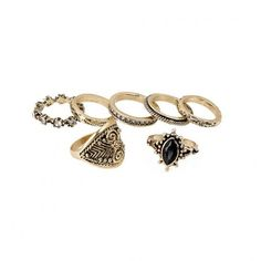 Yoins Yoins Pack of 7 Vintage Etched Rings ($6.00) ❤ liked on Polyvore featuring jewelry, rings, black, artificial jewellery, flower jewelry, imitation jewellery, etched ring and black vintage jewelry