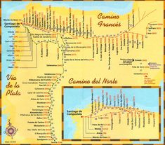 Path Summary View a larger Camino de Santiago Map Above is the main map of the Camino de Santiago, Frances route, which is most popular. You can start walking at any of the town and cities indicat…