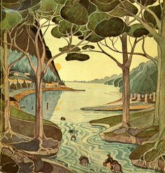 Bilbo Comes to the Huts of the Raft Elves --- Illustration by J.R.R. Tolkien