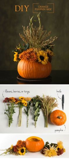 Thanksgiving Day Make Your Own Decoration - Pumpkin Vase . - Thanksgiving Day Make your own decoration – pumpkin vase # own - Thanksgiving Diy, Diy Thanksgiving Centerpieces, Thanksgiving Flowers, Thanksgiving Cornucopia, Decorating For Thanksgiving, Fall Decorations Diy, Fall Table Centerpieces, Diy Decoration, Flower Centerpieces