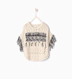 Knit poncho with fringing - Cardigans and Sweaters - Girl (3 - 14 years) - KIDS   ZARA United Kingdom