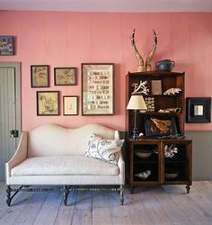 Steven Gambrel designed.  Love the tone of the pink against that grey trim.