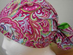 $15.99 This is a great Ponytail scrub  hat. It is so AWESOME and FUN! It is done in a great BRIGHT PINK  and GREEN PAISLEY PRINT with prett...