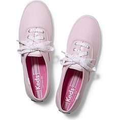 Keds Champion Striped Lace ($45) ❤ liked on Polyvore featuring shoes, sneakers, pink, light pink, pink sneakers, lace shoes, lace sneakers, colorful shoes and pink shoes