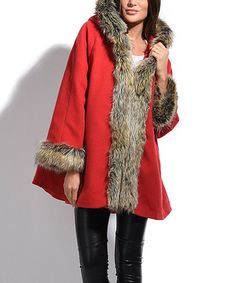 Another great find on #zulily! Red Faux Fur-Trim Swing Coat #zulilyfinds
