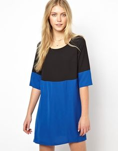 Love Shift Dress in Color Block with Sleeve