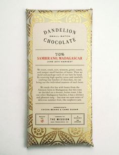 dandelion chocolate is a san francisco based bean-to-bar manufacturer.  the packaging treatment reflects the handcrafted production techniques, limited run and high product quality with distinctive, practical and tactile artisan material combination, a typographic narrative style and a block foil print finish.  design credit, caleb everitt.  illustrator credit, anthony ryan.