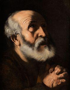 DIE TRÄNEN DES HEILIGEN PETRUS Öl auf Leinwand. 46 x 36 cm. Das Gemälde wurde von Prof. Nicola Spinosa, nach persönlicher Begutachtung des Werkes, in einer...