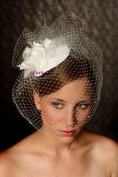 Wedding vintage style BIRD CAGE VEIL wedding hat by klaxonek