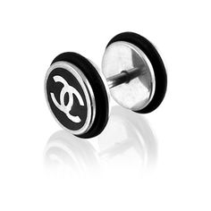 Fake Ear Plugs-Embossed Laser Cut Chanel Logo 316L Surgical Steel Fake Ear Plug with O Rings. - http://shopperselections.com/blog/2013/03/fake-ear-plugs-embossed-laser-cut-chanel-logo-316l-surgical-steel-fake-ear-plug-with-o-rings/